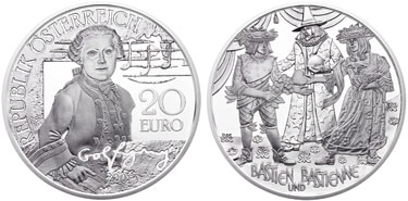 "Austria, 20 euro (silver), ""Mozart – Wolfgang"" (KM-3245)"