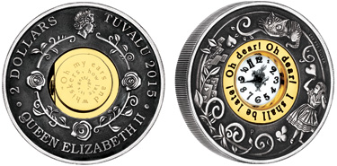 "Tuvalu, 2 dollars (silver), ""150th Anniversary of Alice in Wonderland / Clock in Coin"" (KM-269)"