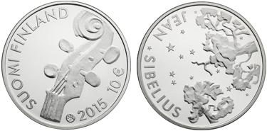 """Finland, 10 euro (silver), """"150th Anniversary of the Birth of Jean Sibelius"""" (KM-225)"""