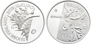 "Finland, 10 euro (silver), ""70th Anniversary of Peace in Europe"" (KM-226)"