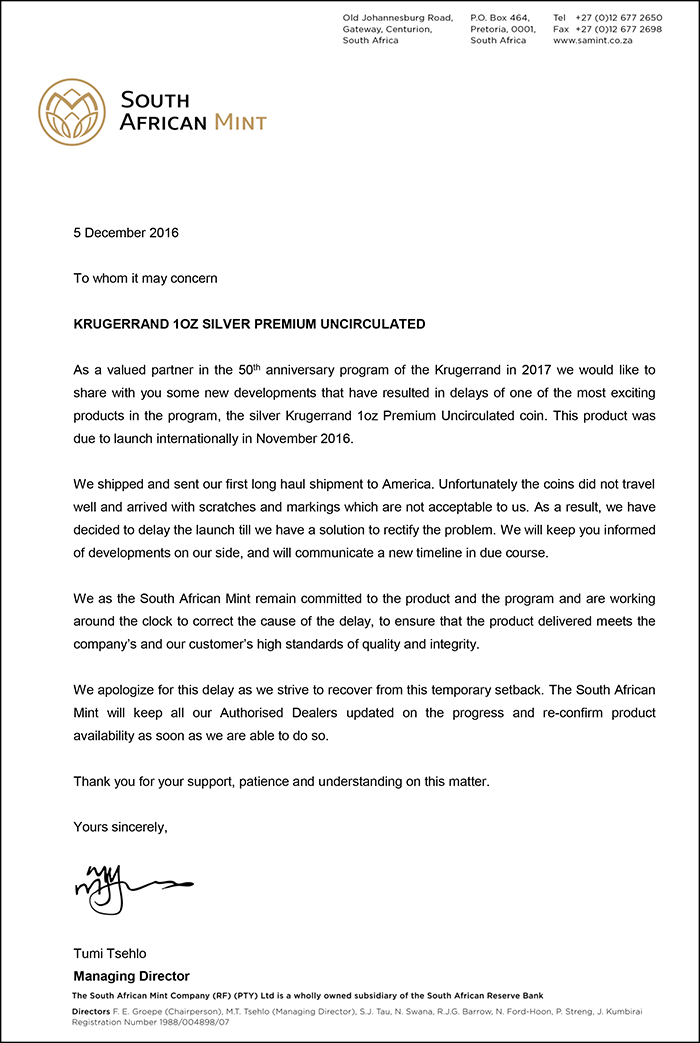 Full text of the South African Mint's press release.