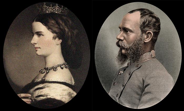 Profile portraits of Elizabeth and Franz Joseph I. (Wikimedia images)