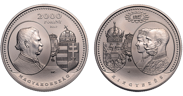 obverse and reverse of 2017 Hungary 2000 forint commemorating the Compromise of 1867