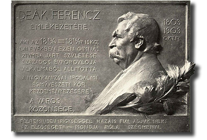 Plaque honoring Ferenc Deák, by Ede Telcs. (Wikimedia photo)