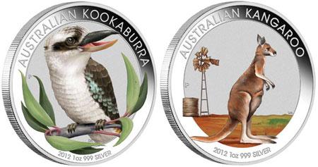 2012 Kookaburra Amp Kangaroo 1 Oz Silver Colored Coins