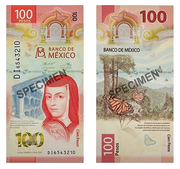 Mexico 100 Pesos 2020 P New Polymer Butterfly UNC